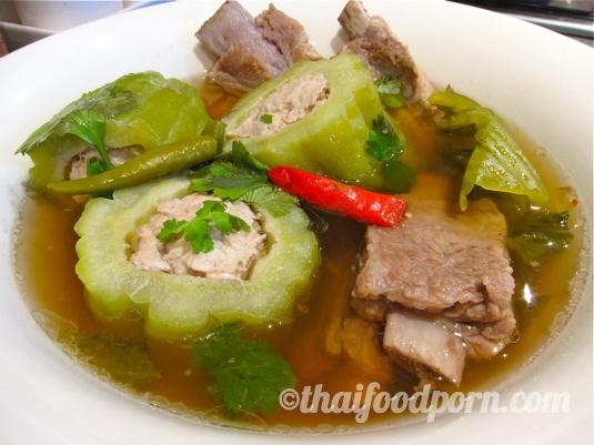 Stuffed bitter melon and pork rib soup – ต้มมะระ
