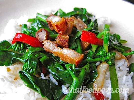 Cripsy Pork Belly with Chinese Broccoli