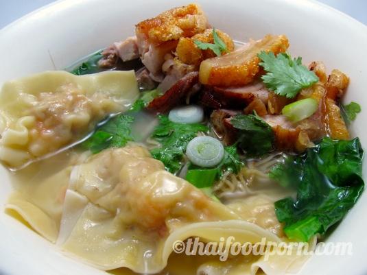 Noodle Soup with Pork & Shrimp Dumplings and Roast Pork Belly – บะหมี่เกี๊ยวน้ำพิเศษ